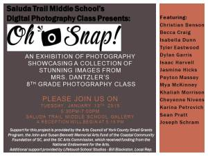 Students in Mrs. Dantzler's Digital Photography Class are preparing for their upcoming Photography Exhibition.