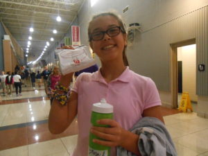 Daryn Questelle is ready to enjoy her Chick-fil-A sandwich during lunch.